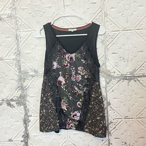 Maurice's Gray floral lace tank